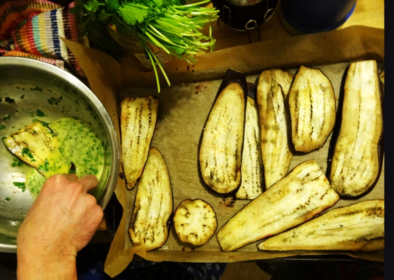 The Chef in Preparations with Oven-Dried Eggplant